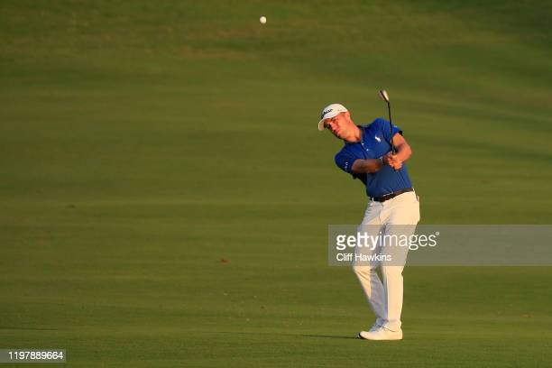 Justin Thomas of the United States plays a shot during a playoff in the final round of the Sentry Tournament Of Champions at the Kapalua Plantation...