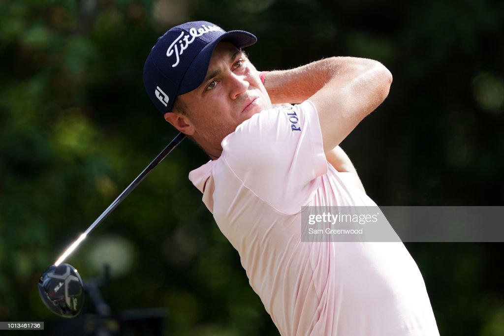 Justin Thomas of the United States plays a shot during a practice round prior to the 2018 PGA Championship at Bellerive Country Club on August 8, 2018 in St Louis, Missouri.