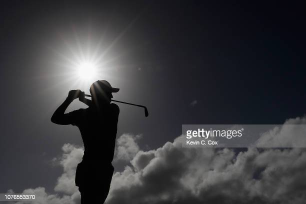 Justin Thomas of the United States plays a shot during a practice round ahead of the Sentry Tournament of Champions at the Plantation Course at...