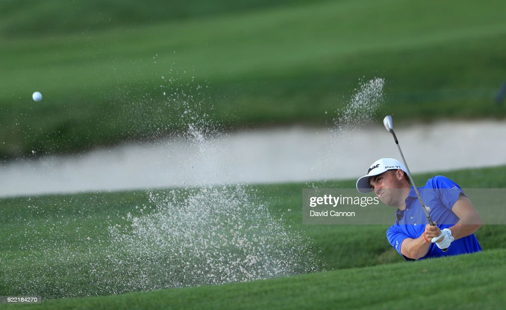 Justin Thomas of the United States plays a shot during the pro-am for the 2018 Honda Classic on The Champions Course at PGA National on February 21, 2018 in Palm Beach Gardens, Florida.