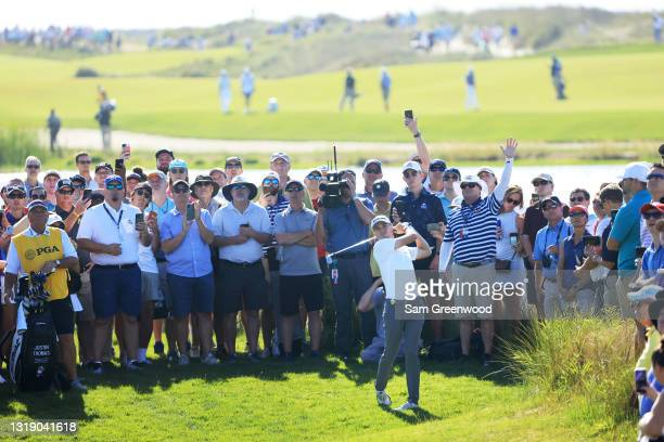 Justin Thomas of the United States plays a shot on the 12th hole during the first round of the 2021 PGA Championship at Kiawah Island Resort's Ocean...