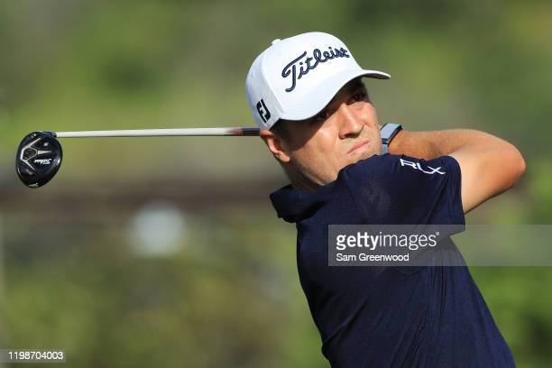 Justin Thomas of the United States plays a shot on the 15th hole during the second round of the Sony Open in Hawaii at the Waialae Country Club on...