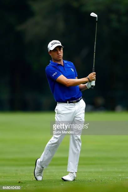 Justin Thomas of the United States plays a shot on the 18th hole during the third round of the World Golf Championships Mexico Championship at Club...