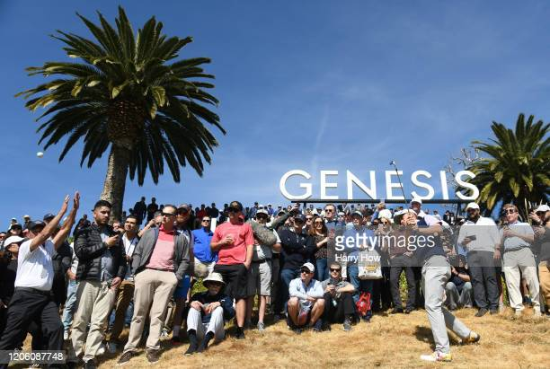 Justin Thomas of the United States plays a shot on the second hole during the first round of the Genesis Invitational on February 13 2020 in Pacific...