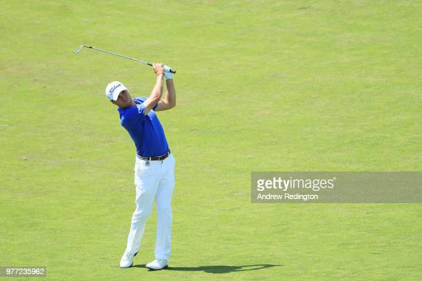 Justin Thomas of the United States plays an approach shot on the tenth hole during the final round of the 2018 US Open at Shinnecock Hills Golf Club...