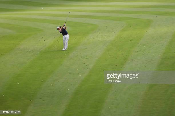 Justin Thomas of the United States plays his second shot on the 18th hole during the third round of the Zozo Championship @ Sherwood on October 24,...