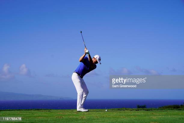 Justin Thomas of the United States plays his shot from the 11th tee during the final round of the Sentry Tournament Of Champions at the Kapalua...