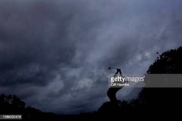 Justin Thomas of the United States plays his shot from the 11th tee during the first round of the Mayakoba Golf Classic at El Camaleón Golf Club on...