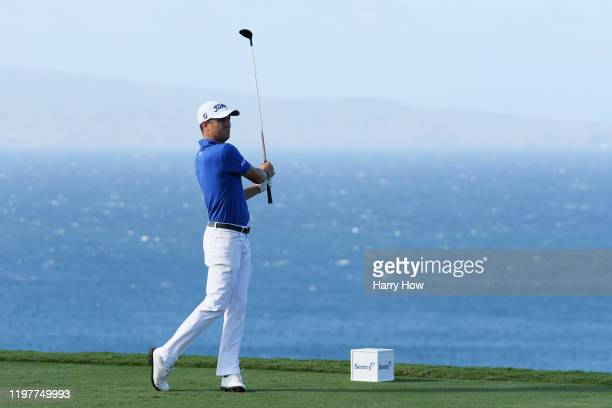 Justin Thomas of the United States plays his shot from the 13th tee during the final round of the Sentry Tournament Of Champions at the Kapalua...