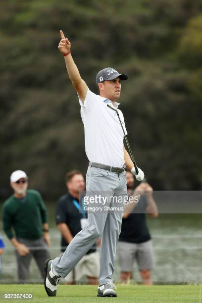 Justin Thomas of the United States plays his shot from the 13th tee during the fourth round of the World Golf ChampionshipsDell Match Play at Austin...