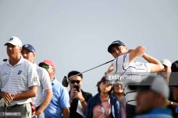 Justin Thomas of the United States plays his shot from the 14th tee during the first round of the Sony Open in Hawaii at the Waialae Country Club on...