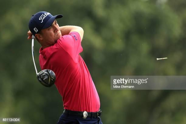 Justin Thomas of the United States plays his shot from the 15th tee during the final round of the 2017 PGA Championship at Quail Hollow Club on...