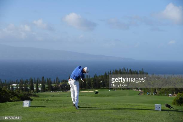 Justin Thomas of the United States plays his shot from the 17th tee during the final round of the Sentry Tournament Of Champions at the Kapalua...