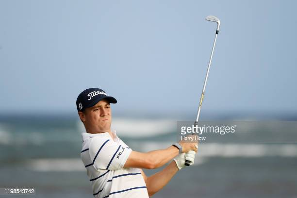Justin Thomas of the United States plays his shot from the 17th tee during the first round of the Sony Open in Hawaii at the Waialae Country Club on...