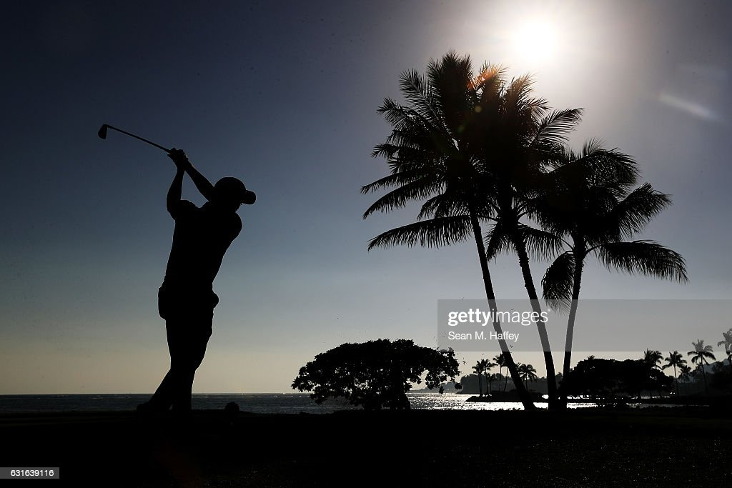Justin Thomas of the United States plays his shot from the 17th tee during the second round of the Sony Open In Hawaii at Waialae Country Club on January 13, 2017 in Honolulu, Hawaii.