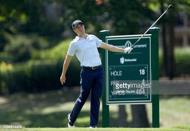Justin Thomas of the United States plays his shot from the 18th tee during the third round of The Memorial Tournament on July 18, 2020 at Muirfield...