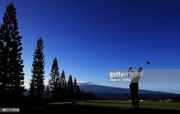 Justin Thomas of the United States plays his shot from the 18th tee during the second round of the SBS Tournament of Champions at the Plantation...
