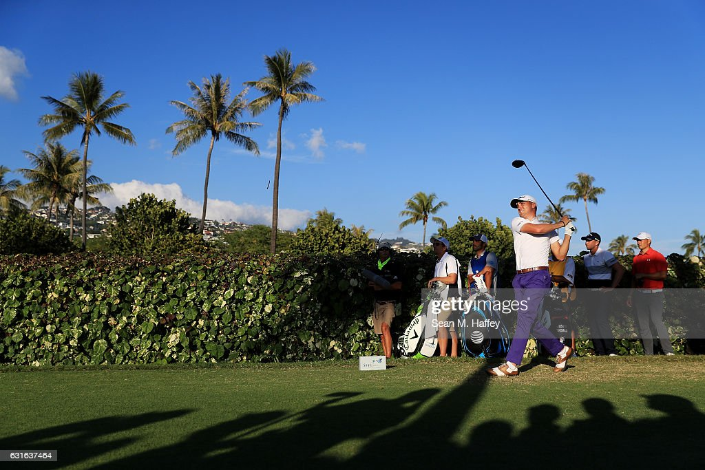 Justin Thomas of the United States plays his shot from the 18th tee during the second round of the Sony Open In Hawaii at Waialae Country Club on January 13, 2017 in Honolulu, Hawaii.