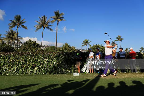 Justin Thomas of the United States plays his shot from the 18th tee during the second round of the Sony Open In Hawaii at Waialae Country Club on...
