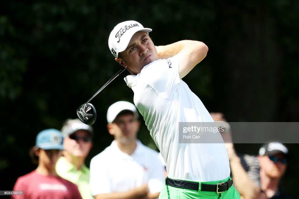Justin Thomas of the United States plays his shot from the eighth tee during the first round of the Quicken Loans National on June 29, 2017 TPC Potomac in Potomac, Maryland.