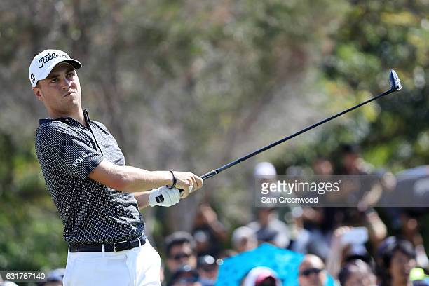 Justin Thomas of the United States plays his shot from the first tee during the final round of the Sony Open In Hawaii at Waialae Country Club on...