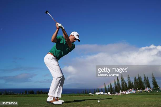 Justin Thomas of the United States plays his shot from the first tee during the final round of the Sentry Tournament of Champions at Plantation...