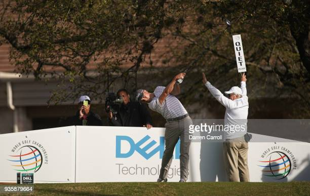 Justin Thomas of the United States plays his shot from the first tee during the first round of the World Golf ChampionshipsDell Match Play at Austin...