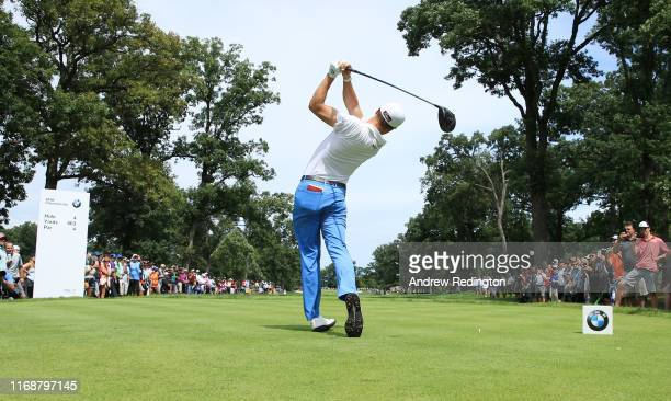 Justin Thomas of the United States plays his shot from the fourth tee during the final round of the BMW Championship at Medinah Country Club No. 3 on...