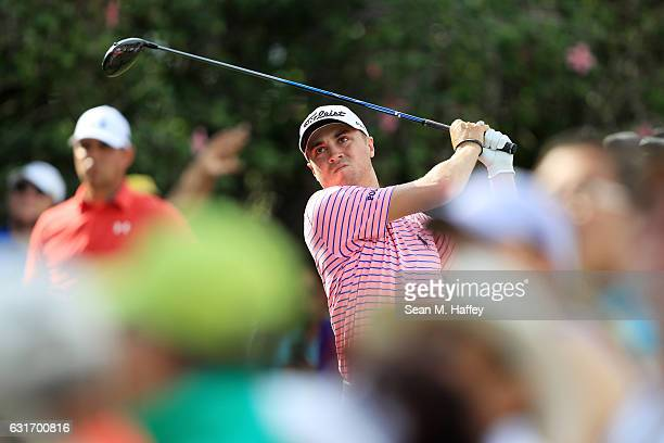 Justin Thomas of the United States plays his shot from the ninth tee during the third round of the Sony Open In Hawaii at Waialae Country Club on...