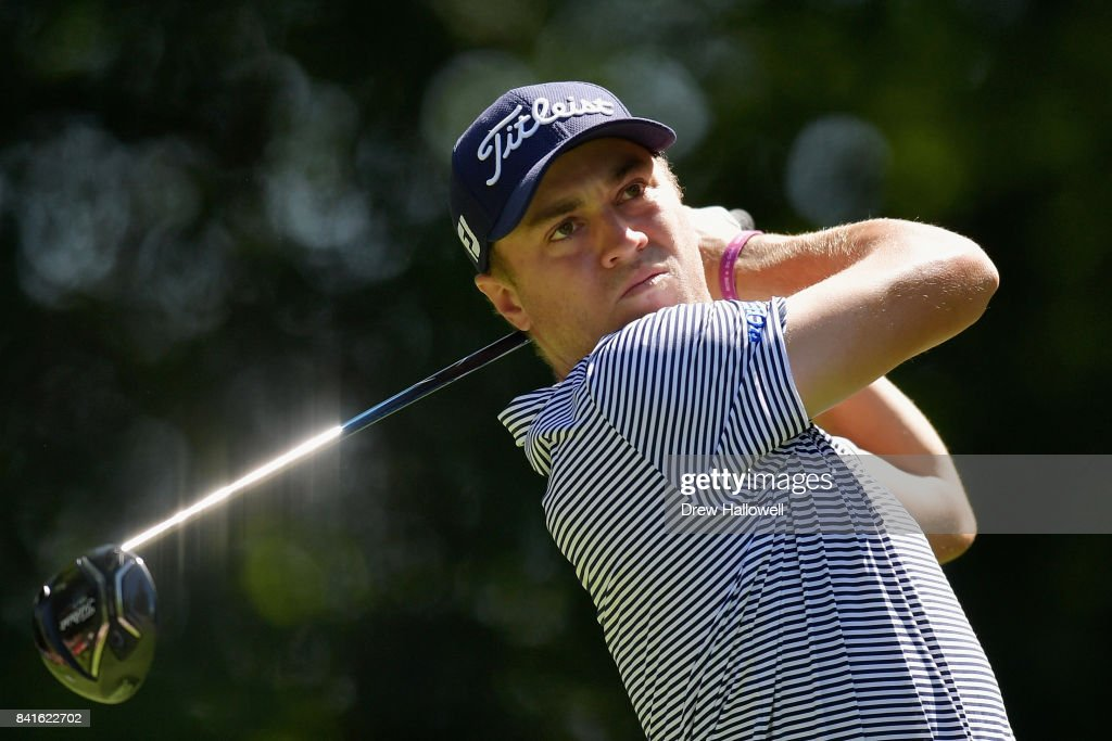 Justin Thomas of the United States plays his shot from the ninth tee during round one of the Dell Technologies Championship at TPC Boston on September 1, 2017 in Norton, Massachusetts.