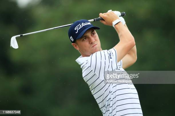 Justin Thomas of the United States plays his shot from the second tee during the third round of the BMW Championship at Medinah Country Club No. 3 on...