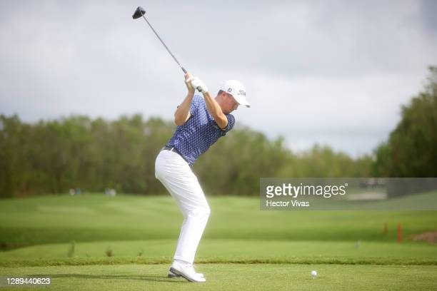 Justin Thomas of the United States plays his shot from the second tee during the second round of the Mayakoba Golf Classic at El Camaleón Golf Club...