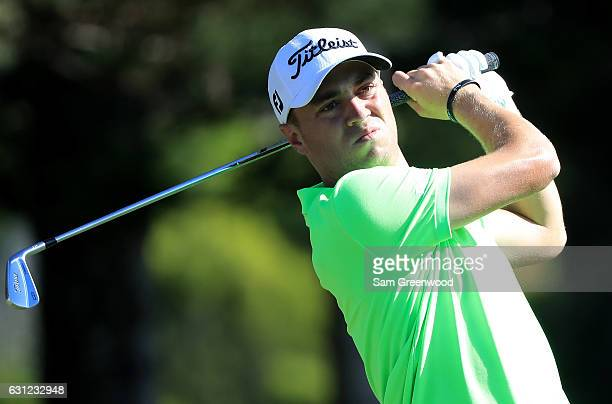 Justin Thomas of the United States plays his shot from the second tee during the final round of the SBS Tournament of Champions at the Plantation...