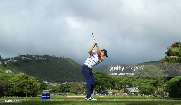 Justin Thomas of the United States plays his shot from the seventh tee during the first round of the Sony Open in Hawaii at the Waialae Country Club...