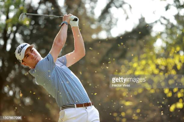 Justin Thomas of the United States plays his shot from the seventh tee during the second round of the World Golf Championships Mexico Championship at...