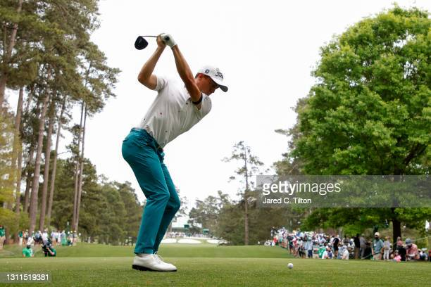 Justin Thomas of the United States plays his shot from the seventh tee during the first round of the Masters at Augusta National Golf Club on April...