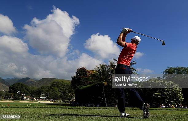 Justin Thomas of the United States plays his shot from the seventh tee during the first round of the Sony Open In Hawaii at Waialae Country Club on...