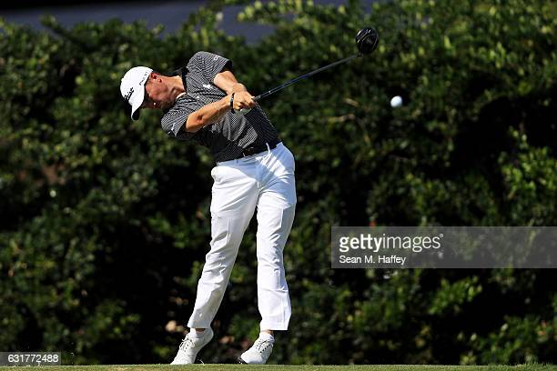 Justin Thomas of the United States plays his shot from the sixth tee during the final round of the Sony Open In Hawaii at Waialae Country Club on...
