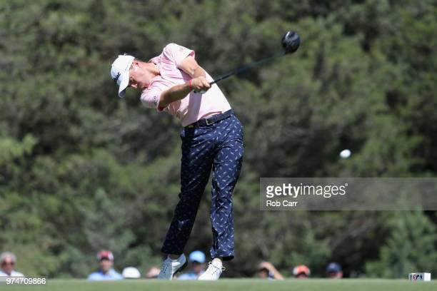 Justin Thomas of the United States plays his shot from the sixth tee during the first round of the 2018 US Open at Shinnecock Hills Golf Club on June...