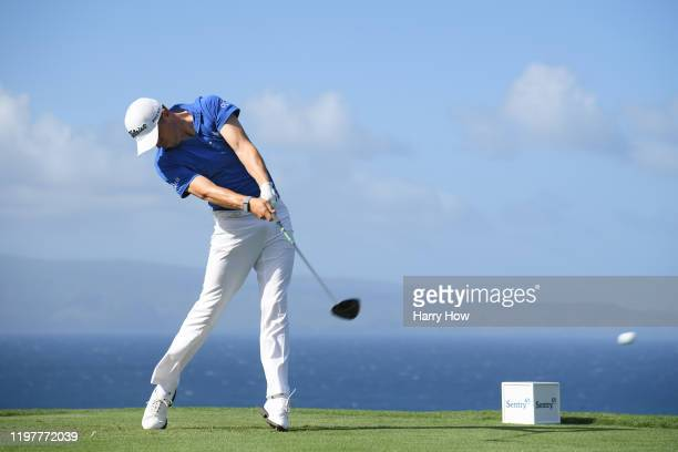 Justin Thomas of the United States plays his shot from the tenth tee during the final round of the Sentry Tournament Of Champions at the Kapalua...