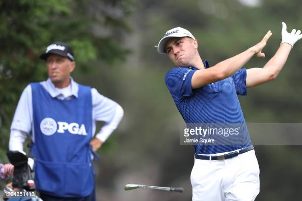 Justin Thomas of the United States plays his shot from the third tee during the first round of the 2020 PGA Championship at TPC Harding Park on...