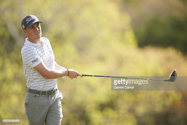 Justin Thomas of the United States plays his shot from the third tee during the first round of the World Golf ChampionshipsDell Match Play at Austin...