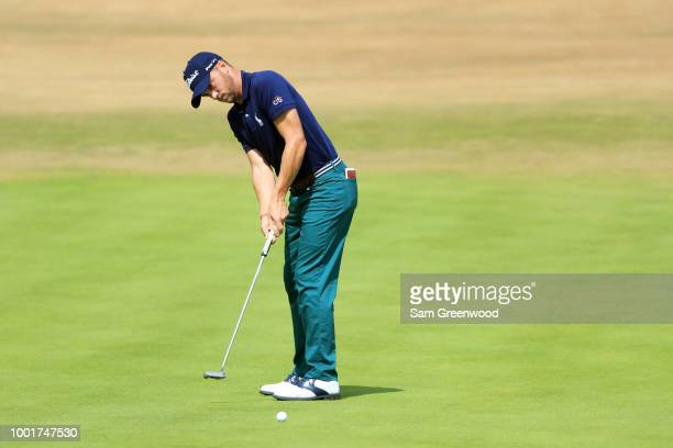 Justin Thomas of the United States putts during the first round of the 147th Open Championship at Carnoustie Golf Club on July 19 2018 in Carnoustie...