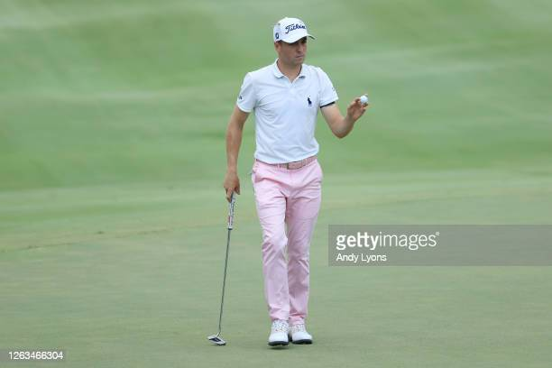 Justin Thomas of the United States reacts after a putt on the 17th green during the final round of the World Golf Championship-FedEx St Jude...