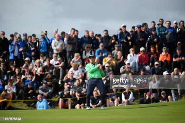 Justin Thomas of the United States reacts after a putt on the sixth green during the second round of the 148th Open Championship held on the Dunluce...
