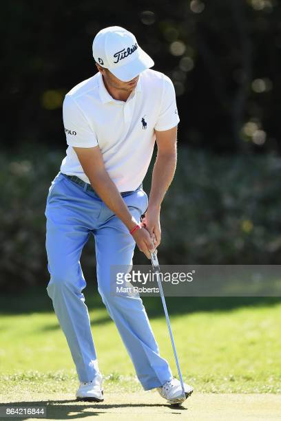 Justin Thomas of the United States reacts after his putt on the 4th green during the third round of the CJ Cup at Nine Bridges on October 21 2017 in...