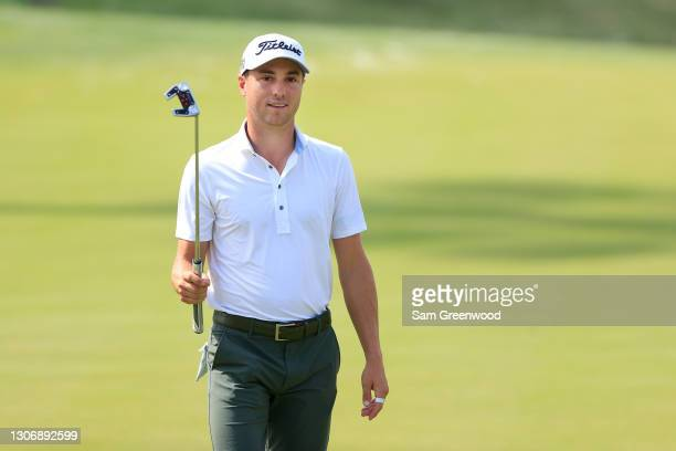 Justin Thomas of the United States reacts on the 13th green during the third round of THE PLAYERS Championship on THE PLAYERS Stadium Course at TPC...