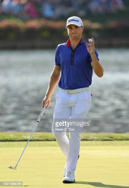 Justin Thomas of the United States reacts on the 16th green during the final round of THE PLAYERS Championship on THE PLAYERS Stadium Course at TPC...