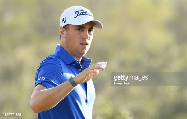 Justin Thomas of the United States reacts on the 17th green during the final round of the Sentry Tournament Of Champions at the Kapalua Plantation...
