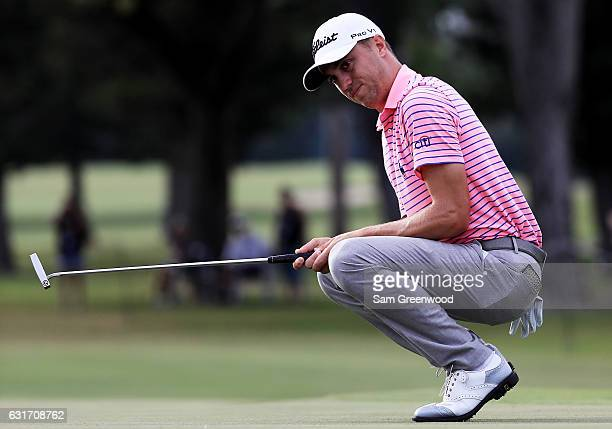 Justin Thomas of the United States reacts to a missed birdie attempt on the 15th green during the third round of the Sony Open In Hawaii at Waialae...
